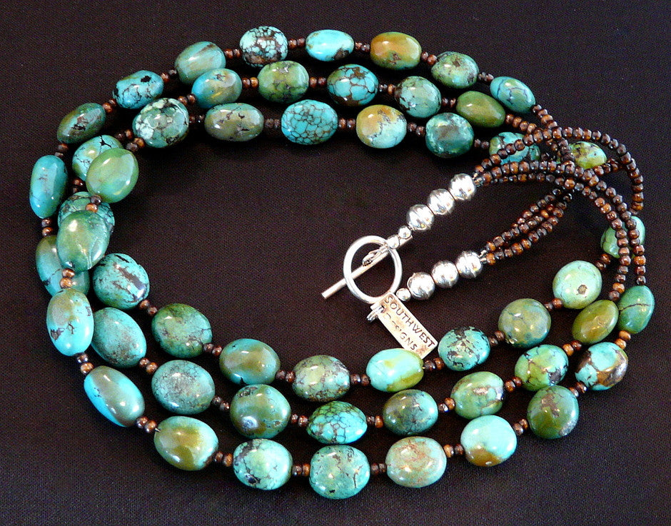 Turquoise Oval 3-Strand Necklace with Handcrafted Sterling