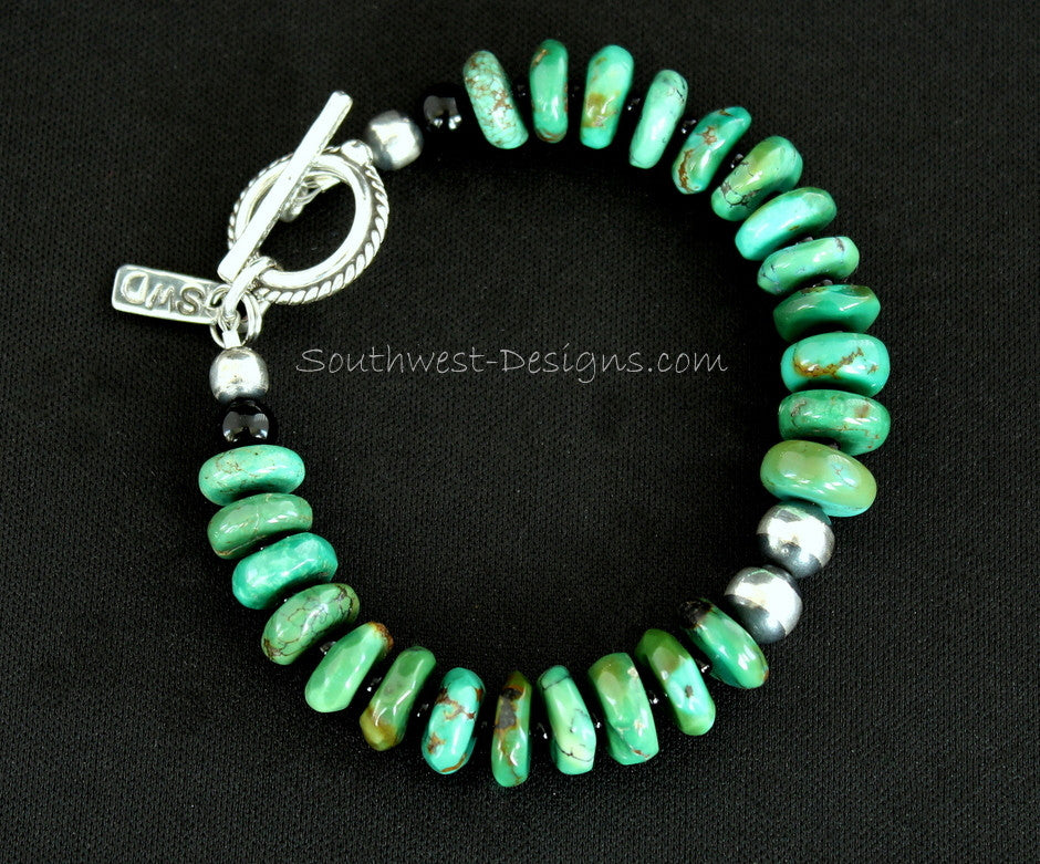 Turquoise Rondelle Bead Bracelet with Onyx Rounds, Black Seed Beads, and Oxidized Sterling Silver