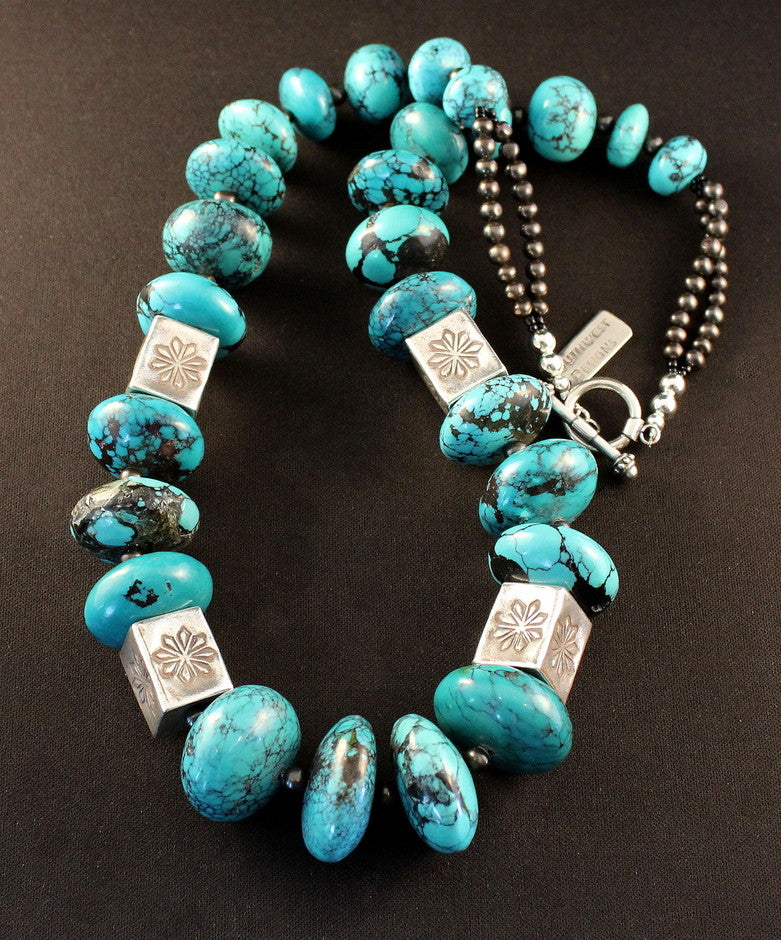 Turquoise Graduated Rondelle Bead Necklace with 15-by-19mm Sterling Silver Box Beads and Smoke-Colored Pearls