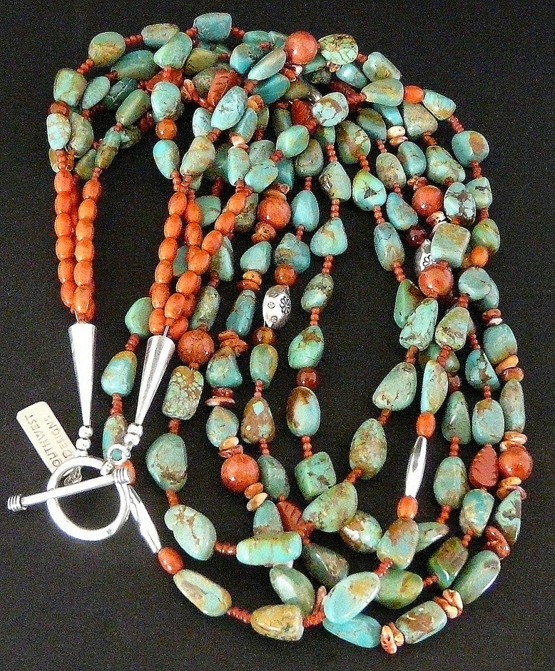 Turquoise Nugget 5-Strand Necklace with Coral, Spiny Oyster Shell and Sterling Silver