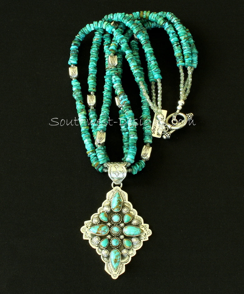 11-Stone Turquoise & Sterling Silver Diamond-Shaped Pendant with 3 Strands of Turquoise Heishi and Sterling