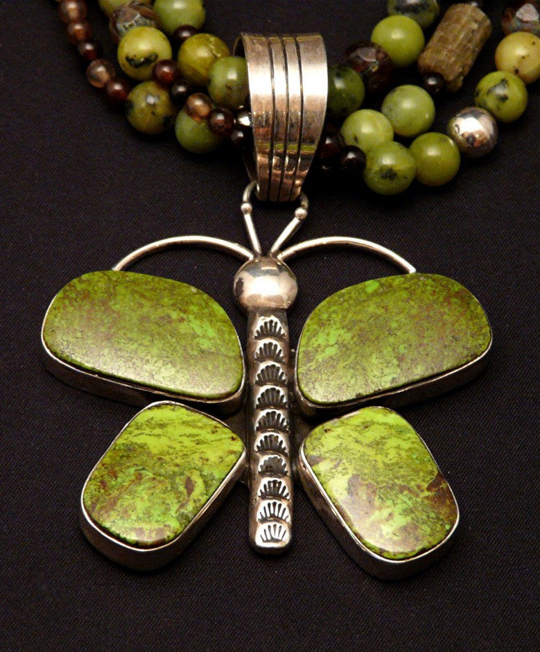 Gaspeite and Sterling Butterfly Pendant with Jade, Black Agate & Sterling