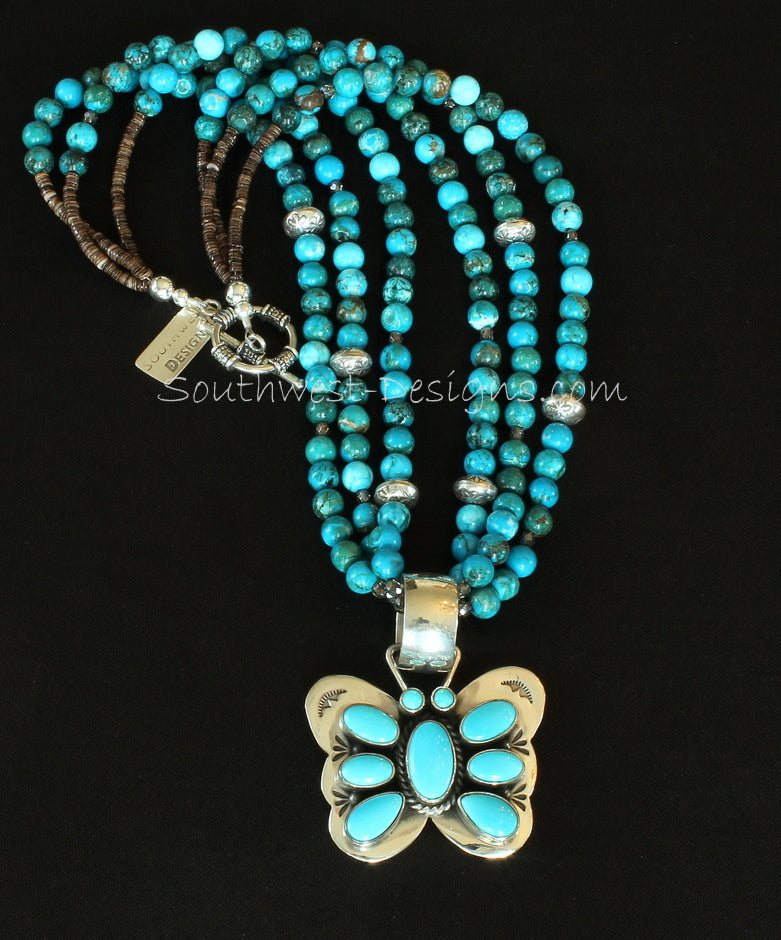 Turquoise & Sterling Silver Butterfly Pendant with 3 Strands of Turquoise Rounds, Fire Polished Glass, Olive Shell Heishi & Sterling Silver