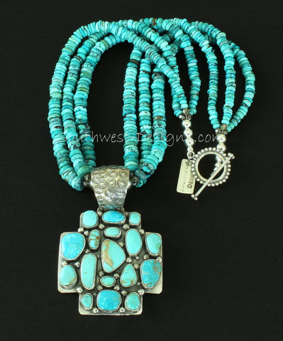 17-Stone Turquoise and Sterling Silver Cross Pendant with 3 Strands of Turquoise Rondelles and Sterling