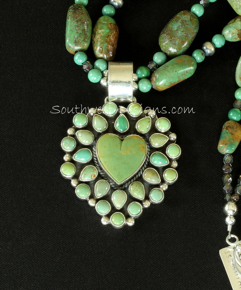 26-Stone Turquoise and Sterling Silver Heart Pendant with Turquoise Ovals, Fire Polished Glass and Oxidized Sterling Silver