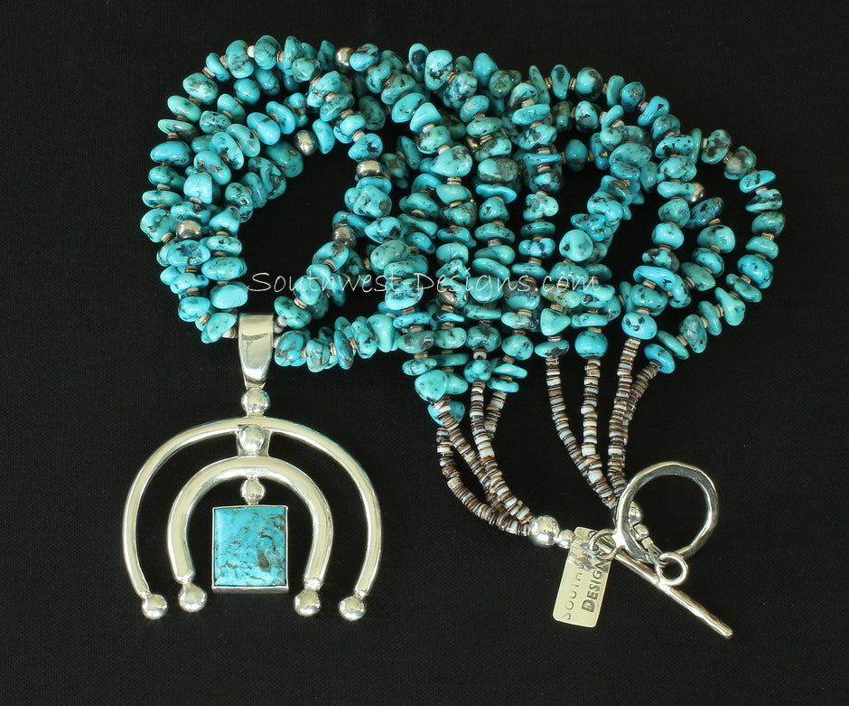 Turquoise & Sterling Silver Naja Pendant with 4 Strands of Turquoise Nuggets, Oyster Shell Heishi, and Sterling Silver