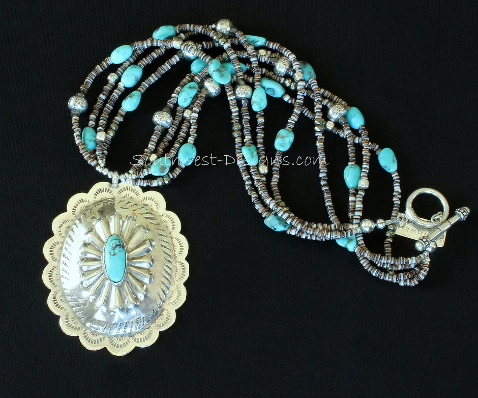 Vintage Turquoise and Sterling Silver Oval Pendant with 4 Strands of Turquoise Nuggets, Olive Shell Heishi, Pyrite, Fire Polished Glass and Sterling Silver
