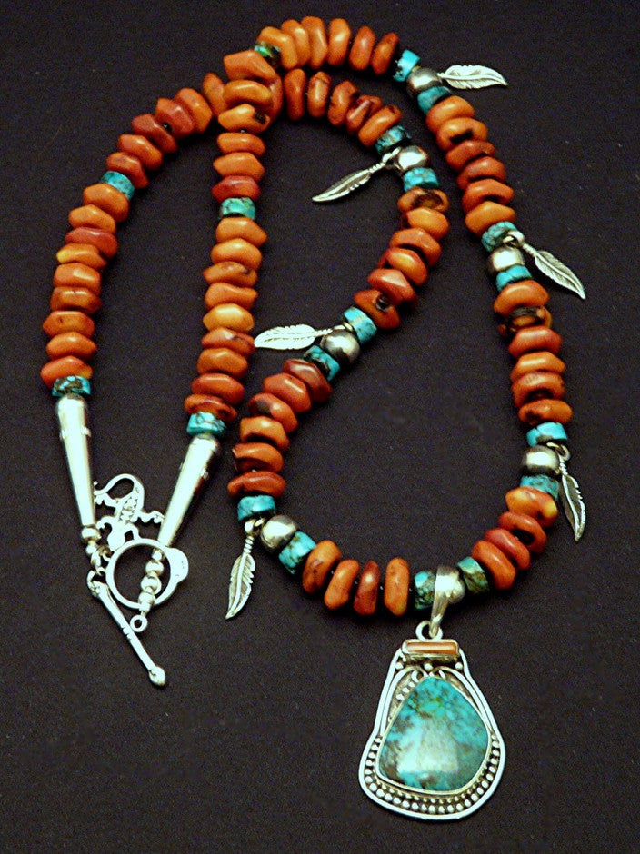 Turquoise, Coral & Sterling Silver Pendant with Coral Disc and Sterling Feather Charms