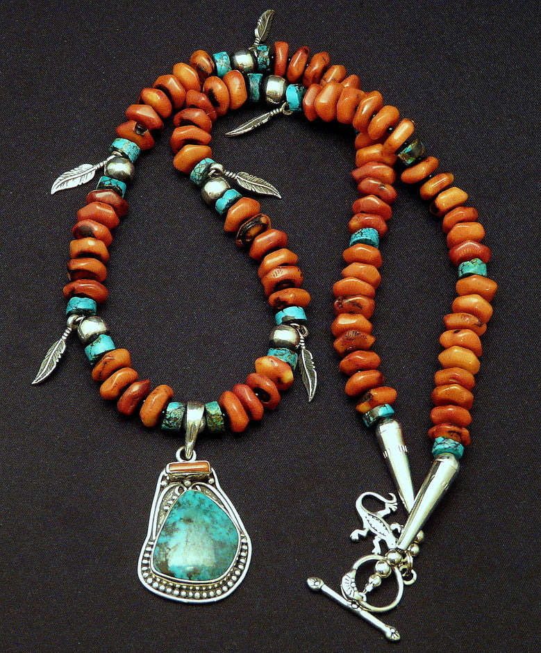 Turquoise, Coral & Sterling Silver Pendant with Coral Discs and Sterling Feather Charms