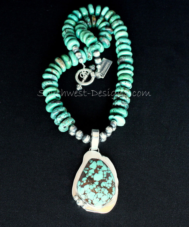 Turquoise & Sterling Silver Pendant with Graduated Turquoise Rondelles and Oxidized Sterling Silver Rounds