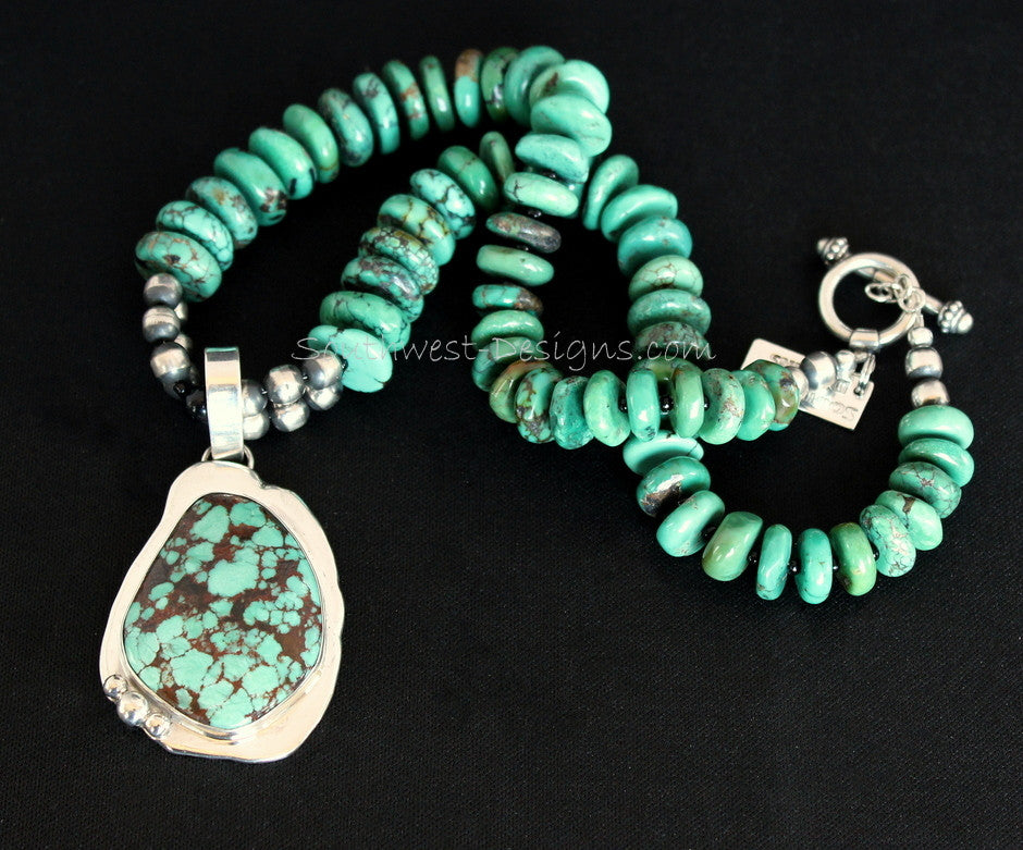 Turquoise and Sterling Silver Pendant with Graduated Turquoise Rondelles and Oxidized Sterling Silver Rounds