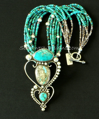 Fox, Royston Ribbon & Sleeping Beauty Turquoise & Sterling Silver Pendant with 6 Strands of Turquoise Rondelles