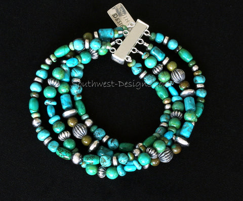Blue & Green Turquoise 4-Strand Bracelet with 42 Oxidized Sterling Silver Beads and Sterling Slide Clasp