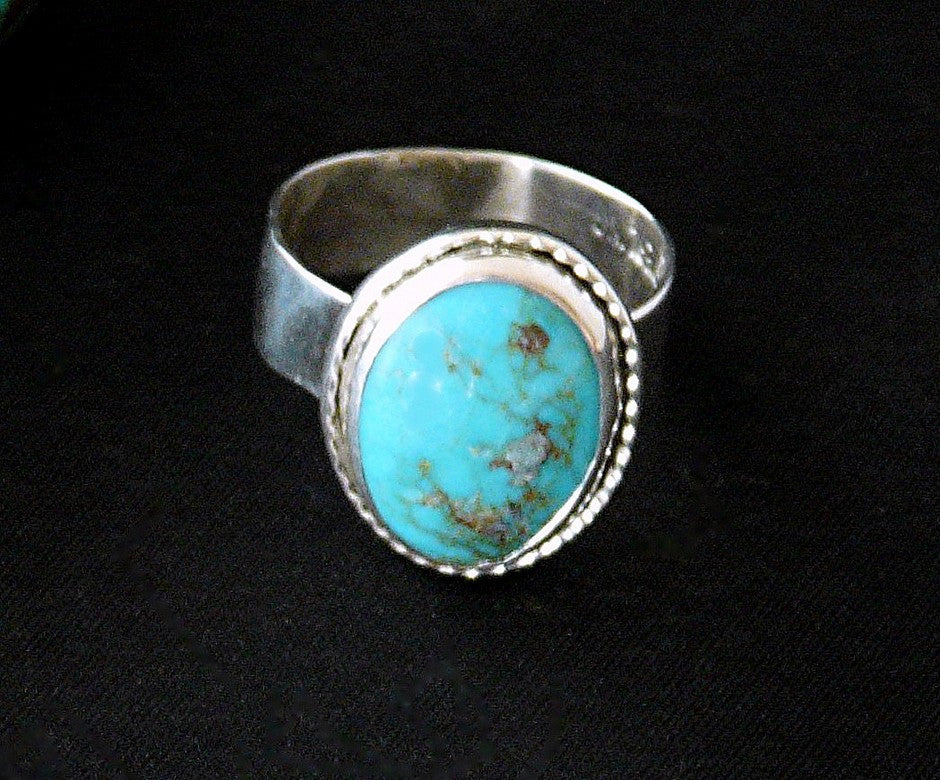 Turquoise Oval and Sterling Silver Band Ring