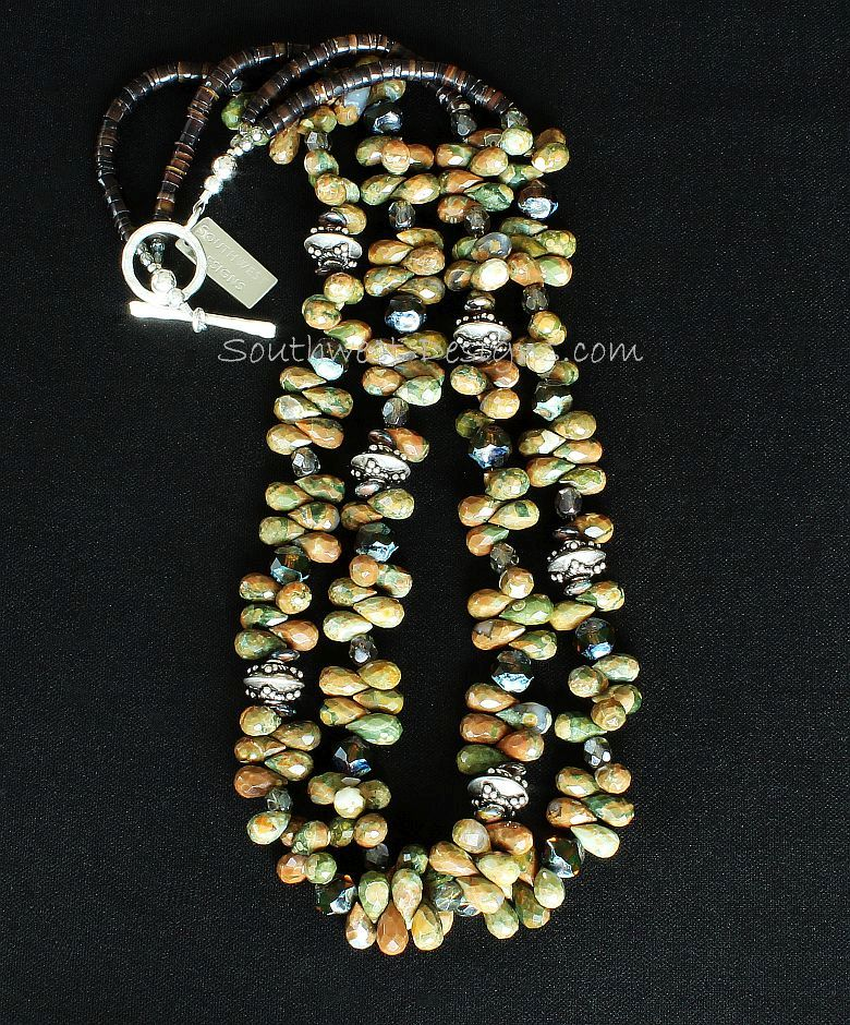 Unakite Faceted Teardrop 2-Strand Necklace with Czech Glass and Sterling Silver