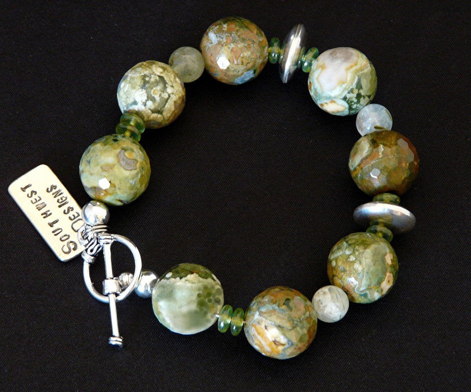 Unakite Round Bead Bracelet with Tsavorite and Sterling Silver