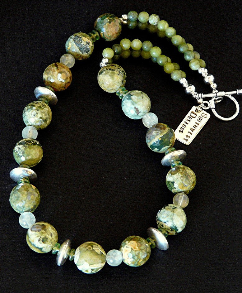 Unakite Round Bead Necklace with Tsavorite and Sterling Silver