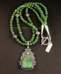 Uvarovite and Sterling Silver Pendant with Jade, Moss Agate and Sterling