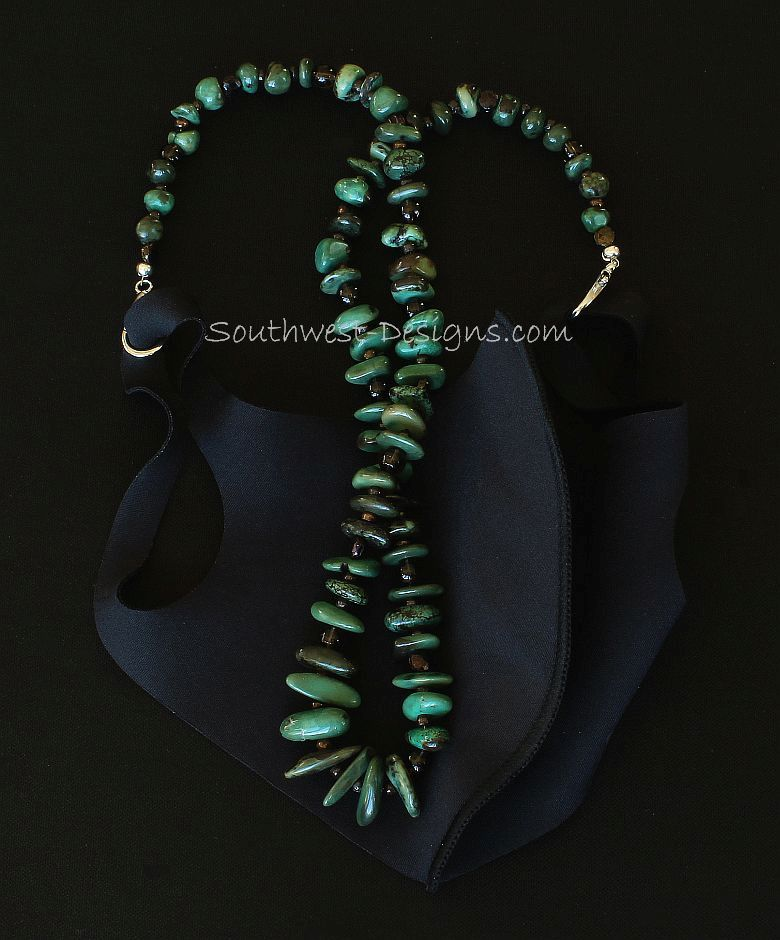 Green Turquoise Nugget Mask Lanyard with Bronze Nailheads, Smoky Quartz and Silver Metal Lobster Clasps