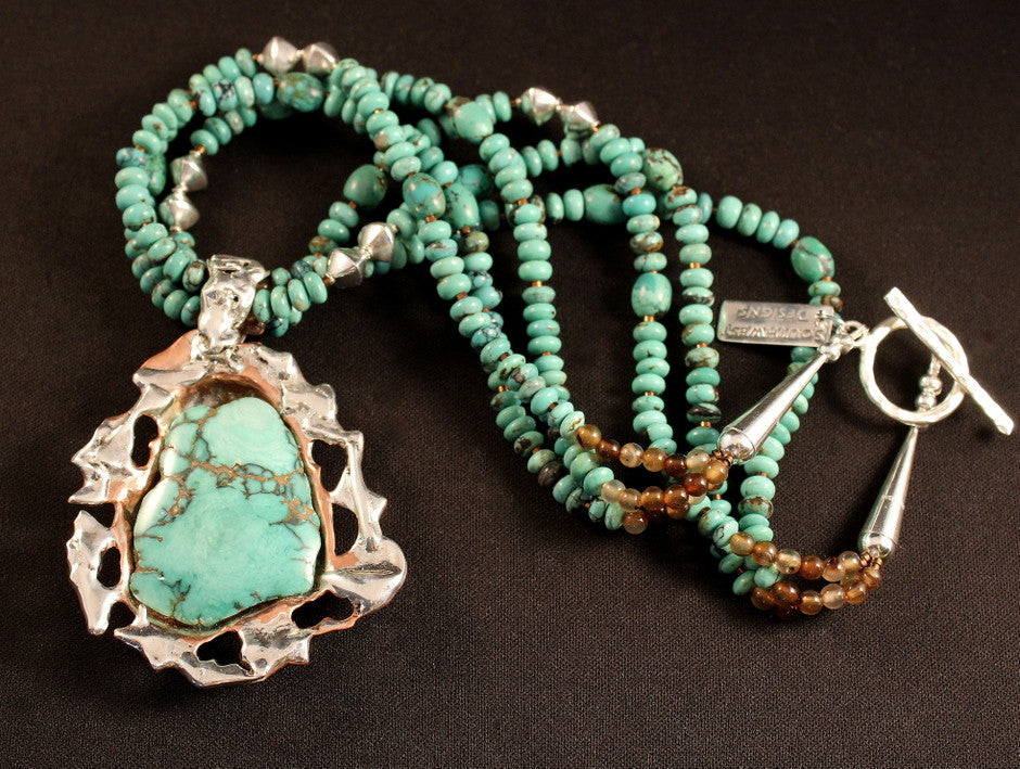 Green Variscite, Sterling & Copper Pendant with Turquoise Rondelles & Sterling