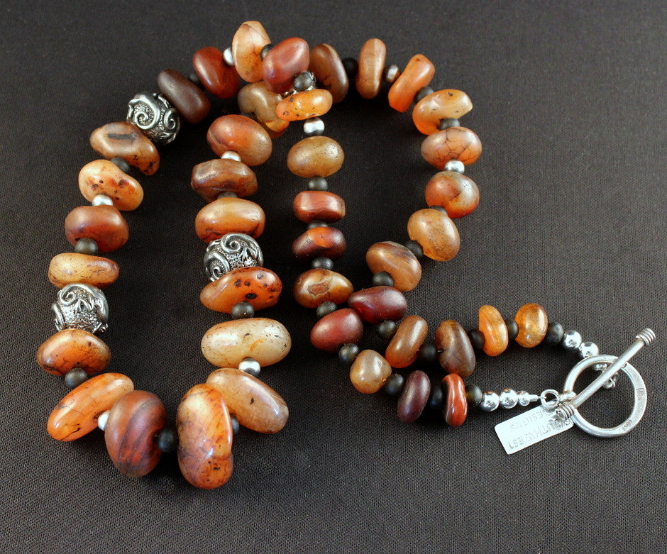 Vintage Carnelian Rondelle Bead Necklace with Black Amber & Sterling
