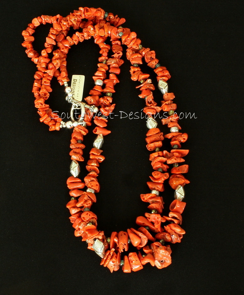 Vintage Coral Nugget 2-Strand Necklace with Fire Polished Glass and Ornate Sterling Silver