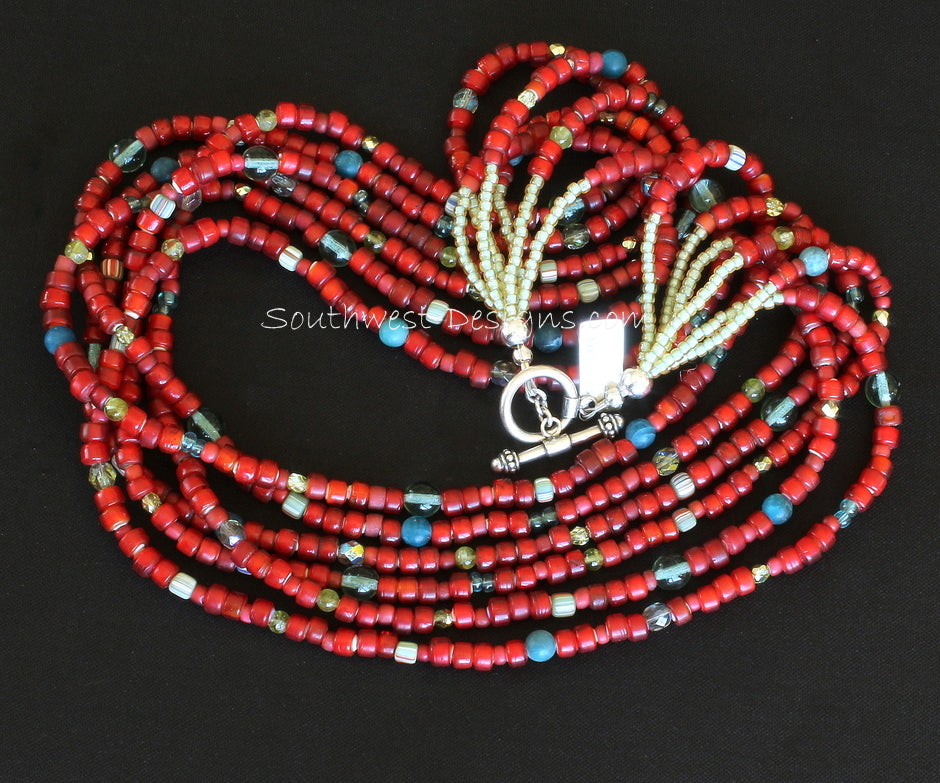 Vintage Red White Heart Bead 6-Strand Necklace with Apatite and Peridot Rounds, Indonesian Glass, Fire Polished Glass and Sterling Silver