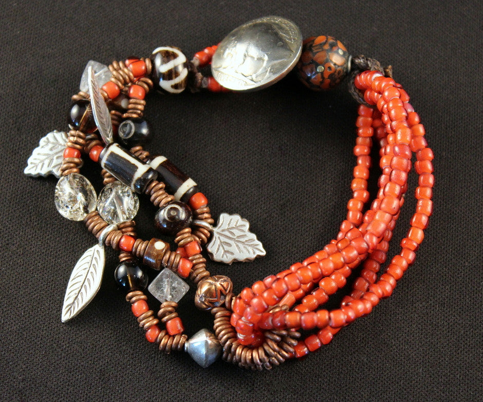 White Heart Bead & Copper Heishi Bracelet with Buffalo Nickel Clasp, Charms & Sterling
