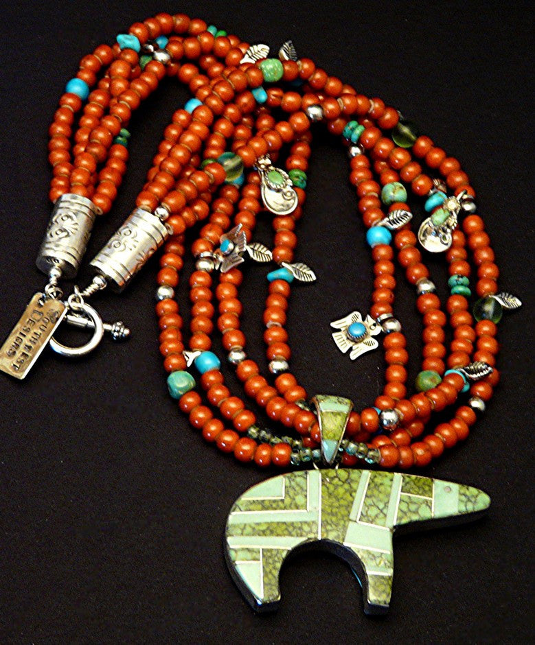 Inlaid Navajo Bear Pendant with 4 Strands of White Heart Beads, Turquoise and Sterling Charms & Findings