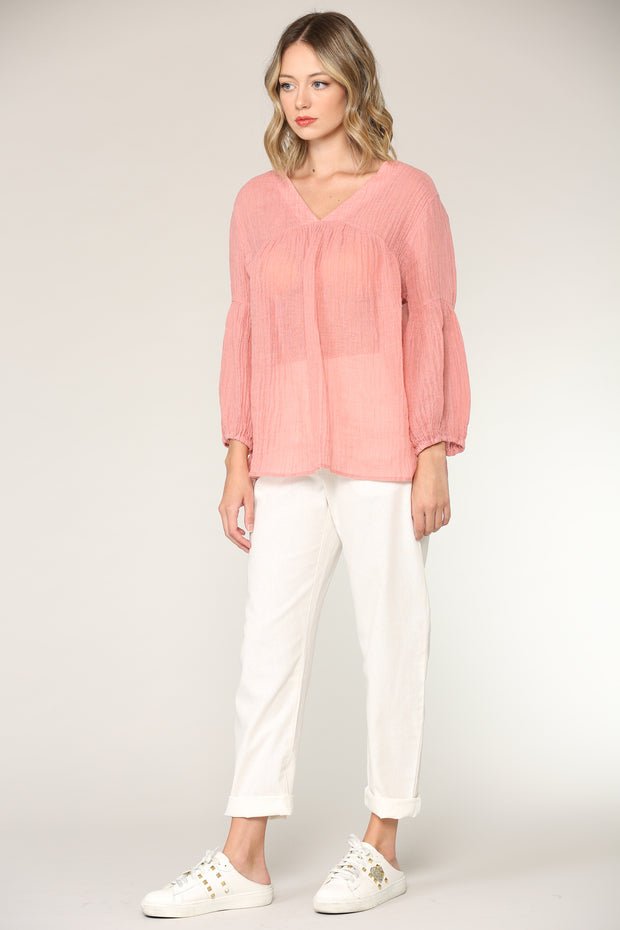 Rose Crinkled Linen Top