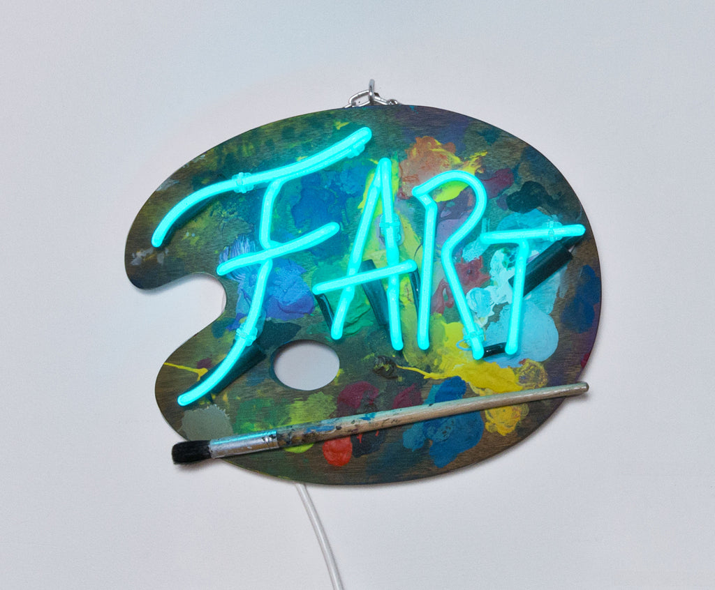 Fart in Turquoise neon on Palett with Paint Brush