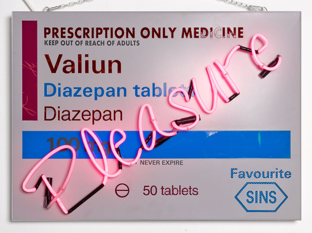Pleasure in pink neon on Valium Prescription Packet