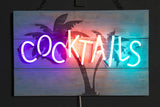 Cocktails Neon On Hand-Painted Wood