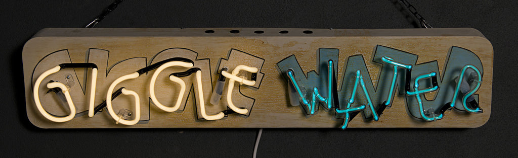 """Giggle Water"" Neon on Hand-Painted Backing"