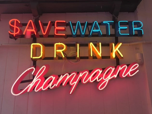 Save Water Drink Champagne, Neon Artwork by Marcus Bracey