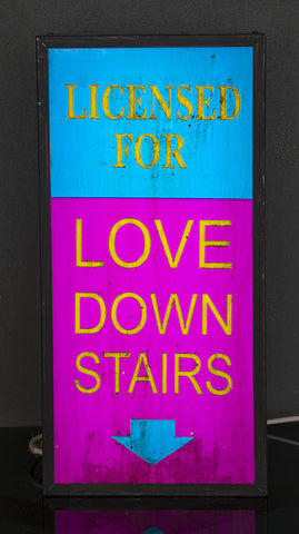"""Licensed For Love Downstairs"" Vintage Light Box"