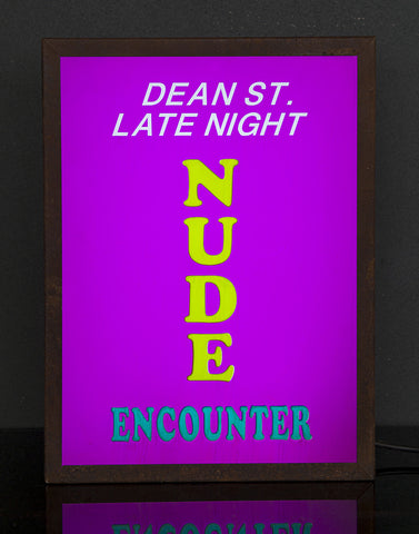 """Dean St. Late Night Nude Encounter"" Vintage Light Box"