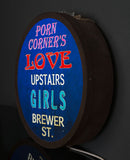 """Porn Corner Brewer Street"" Vintage Circular Light Box"