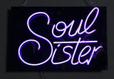 """Soul Sister"" Purple Neon on Black Acrylic"