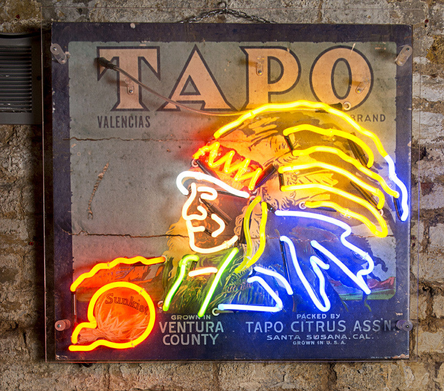 """Tapo"" Vintage Cigarette Advertising with Neon Indian Chief"