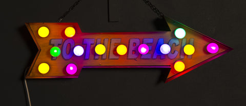 """To The Beach"" Hand-Painted Metal Arrow with Multi-Coloured LED Bulbs"