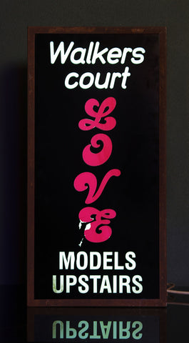 """Walkers Court Love Models Upstairs"" Vintage Light Box"