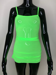 The Lolita Mesh Dress - Neon Green