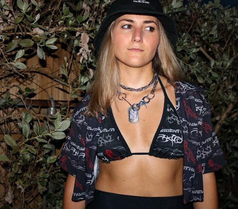 RWMG OR DIE COLLARED CROP TOP