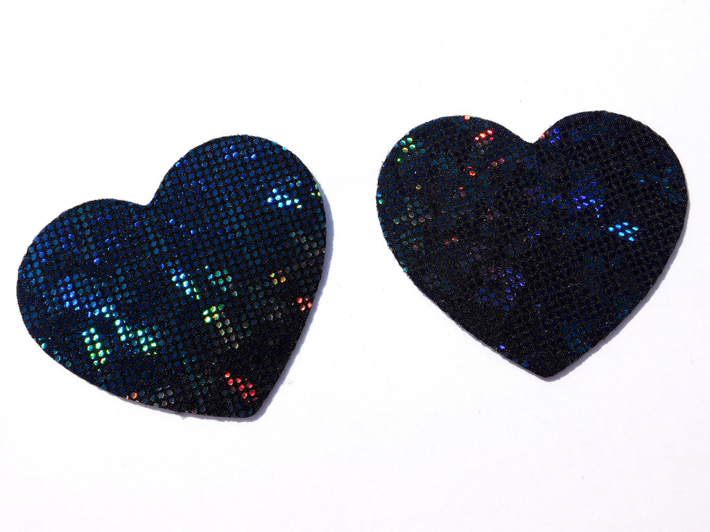 Midnight City Hologram Heart Pasties - Standard Size