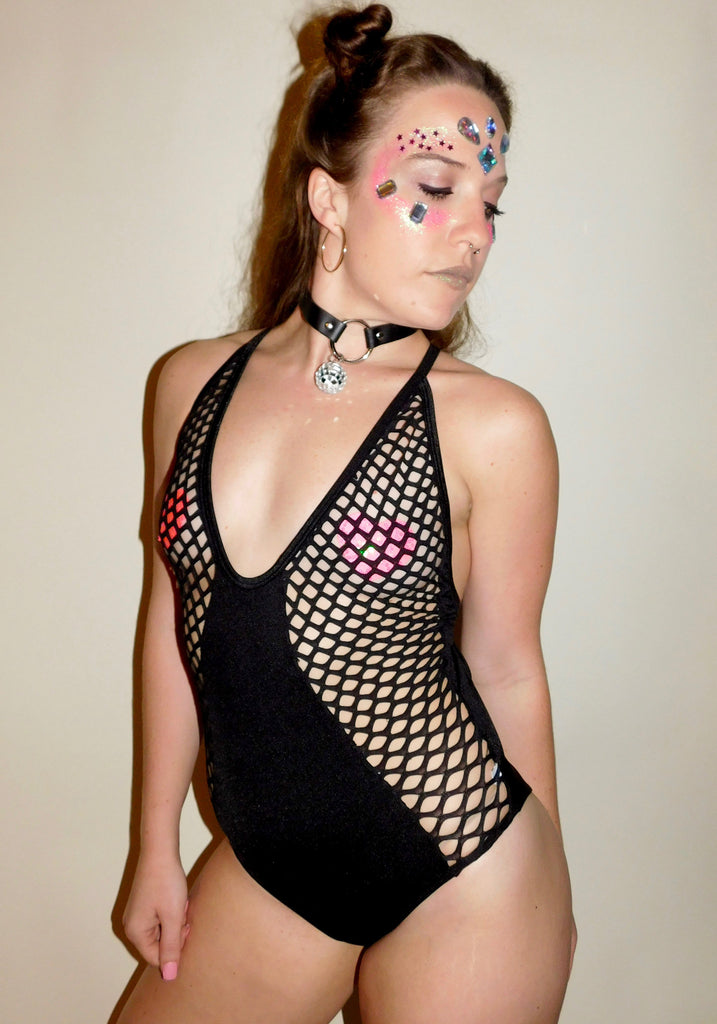 Rhythm Bodysuit - Black Fishnet