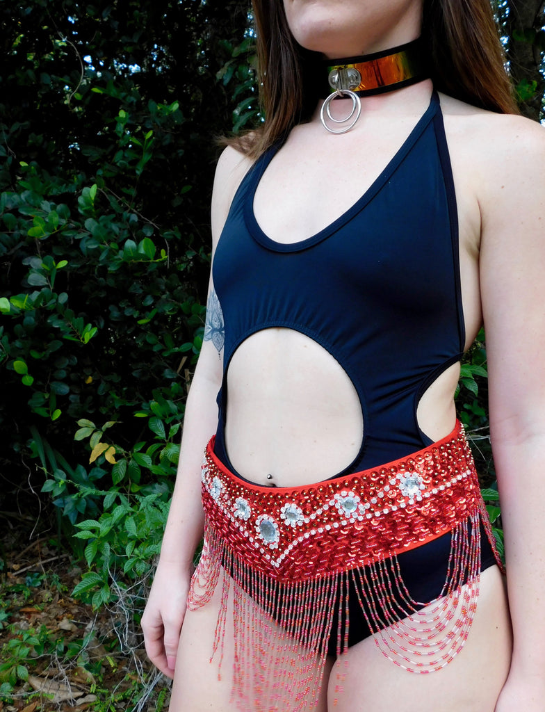 No Me Toca Belt - Red Sequin