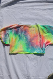 5TH DIMENSION CROP - TIE DYE VELVET / WHITE MESH