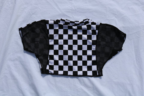 5TH DIMENSION CROP - CHECKER / BLACK MESH
