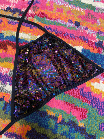 DARK SEQUIN HALTER TOP